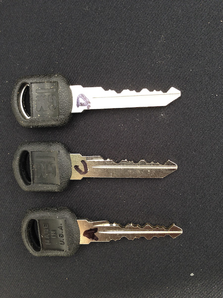 Chevy Blazer keys, partially cut... key A is finished
