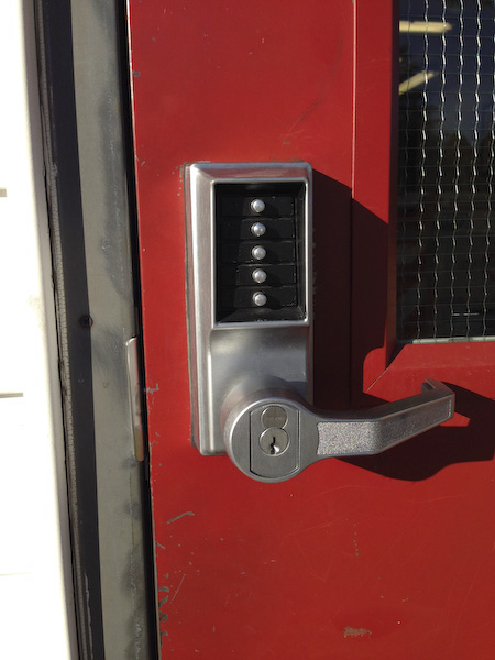 SIMPLEX 1000 combination-reset of push-button high security entrance lock. Ganges Fire Hall