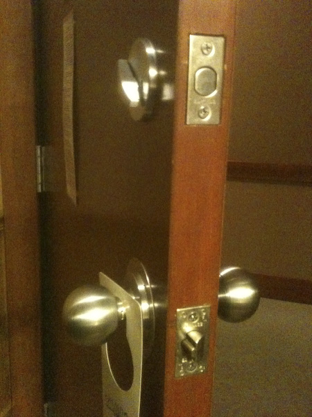 Typical deadbolt and passage knob