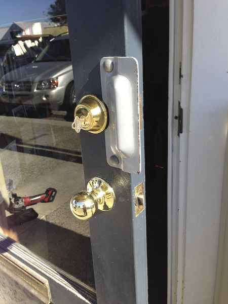 New Schlage Deadbolt with extra protection against break-ins at Bookstore.