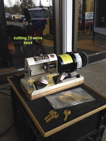 Cutting extra keys Dress Shop for Adamsrite store-front lock